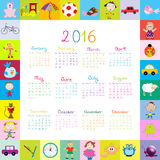 Frame with cartoon toys 2016 calendar. Over white royalty free illustration