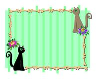 Frame with Cat Friends and Flowers Royalty Free Stock Photography
