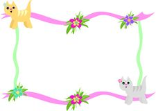 Frame of Cats and Hibiscus Flowers Stock Photos