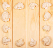 Frame cauliflower on wooden table Royalty Free Stock Image