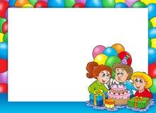 Frame with celebrating children. Color illustration Stock Photography