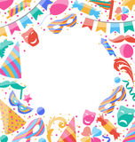 Frame Celebration background with carnival stickers and objects. Vector Royalty Free Stock Photography