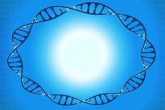 Frame of the cell DNA in blue background Stock Photo