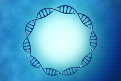 Frame of the cell DNA in blue background. Digital 3D illustration of a DNA in beautiful background vector illustration