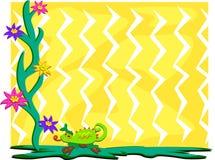 Frame of Chameleon and Flowers Stock Image