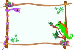 Frame of Chameleon and Snake on Branches Royalty Free Stock Images