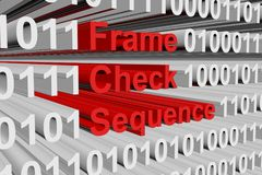 Frame check sequence. In the form of binary code, 3D illustration Stock Photo