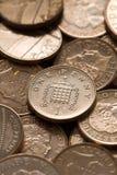 Frame cheio esterlino das moedas de um centavo Imagem de Stock