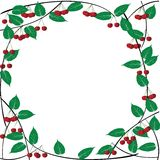Frame with cherries. And leaves Royalty Free Stock Photography