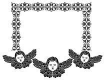 Frame with cherub in vintage style Royalty Free Stock Photos