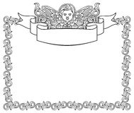 Frame with cherub in vintage style Royalty Free Stock Photo