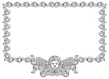 Frame with cherub in vintage style Royalty Free Stock Image