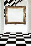 Frame on chessboard abstract. Empty gold frame on an abstract chessboard themed background Stock Images