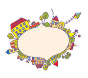Frame with children, houses, kite Stock Photo