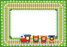 Frame with children riding train. Place for text Stock Photo