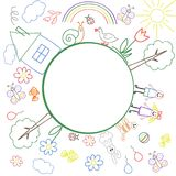 The frame of the children`s colourful drawings with place for your text inside the circle. Vector illustration. stock illustration