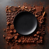 Frame of chocolates with plate Royalty Free Stock Images