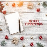 Frame on christmas background of old wood. Xmas items. Square card. Top view.  stock images