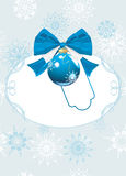 Frame with Christmas ball and bow. Festive card. Frame with blue Christmas ball and bow. Festive card. Illustration Stock Photo