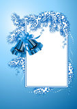 Frame with christmas bells blue color Royalty Free Stock Photos