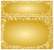 Frame Christmas card on a golden background with stars Stock Image