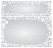 Frame Christmas card on a silver background with stars Royalty Free Stock Photo