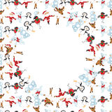 Frame with Christmas characters dancing Royalty Free Stock Images