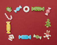Frame of Christmas cookies Stock Photo