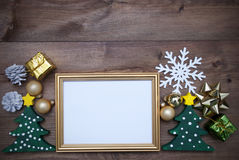 Frame With Christmas Decoration And Copy Space Royalty Free Stock Photos