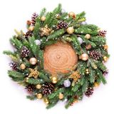 Frame. Christmas decoration. Spruce branches and Christmas-tree decorations. Congratulations on the birth and the new goal stock photos