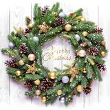 Frame. Christmas decoration. Spruce branches and Christmas-tree decorations. stock photo