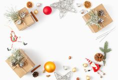 Free Frame Christmas Decoration White Background Flat Lay Top View Stock Photography - 131362962