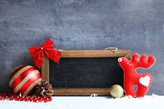 Frame with christmas decorations Stock Photos