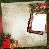 Frame with Christmas decorations on a vintage background Stock Photography