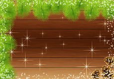 Frame Christmas fir and snow Stock Photos