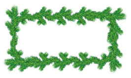 Frame of Christmas fir tree branches in rectangular shape. On white background. Merry Christmas and Happy New Year holiday design Royalty Free Stock Photography