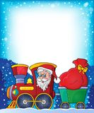 Frame with Christmas train theme 1 Royalty Free Stock Photos