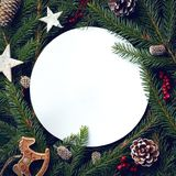 Frame of Christmas tree branches and decorations royalty free stock photo