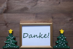 Frame With Christmas Tree And Danke Means Thank You Royalty Free Stock Photo