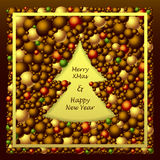 Frame in Christmas Tree form from balls in brown gold red Royalty Free Stock Photos