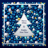 Frame in Christmas Tree form from balls in dark blue silver gold Stock Photography