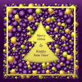 Frame in Christmas Tree form from balls in lilac gold green. Colors for congratulation Merry Christmas and Happy New Year holidays or creative Post Card or for Stock Photos