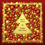 Frame in Christmas Tree form from balls in red gold Stock Photos