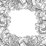 Frame with Christmas tree, gift box, bells in doodle styl