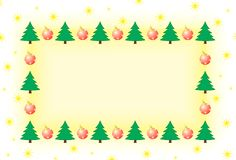 Frame with Christmas tree and ornaments stock photography