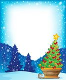 Frame with Christmas tree on sledge Royalty Free Stock Photography