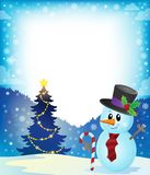 Frame with Christmas tree and snowman 2 Stock Photography