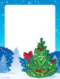 Frame with Christmas tree topic 1 Royalty Free Stock Photography