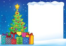 Frame with Christmas tree topic 7 Stock Images
