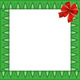 Frame with Christmas trees pattern on green background and festive red bow. Cute Christmas frame with Christmas trees pattern on green background and festive red Royalty Free Stock Images